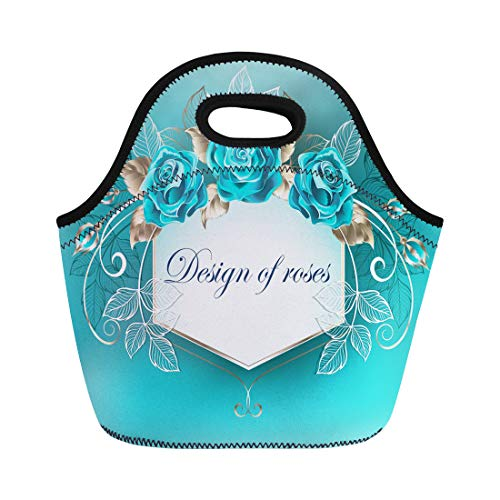 Semtomn Lunch Bags Blue Best White Decorated Turquoise Roses Leaves of Gold Neoprene Lunch Bag Lunchbox Tote Bag Portable Picnic Bag Cooler Bag