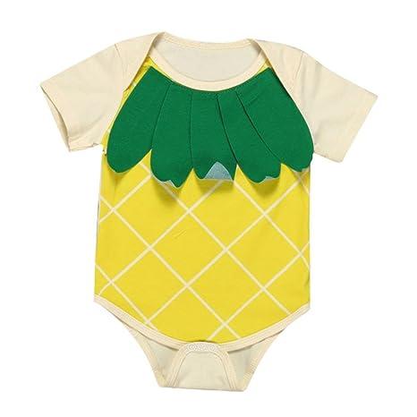 webla Baby Boy Girl piña Pelele Mono de manga corta amarillo amarillo Talla:Size: