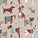 Fleece Dog Show Dogs Beige Puppies Paw Prints Animal Fleece Fabric Print by the Yard o44157-1b