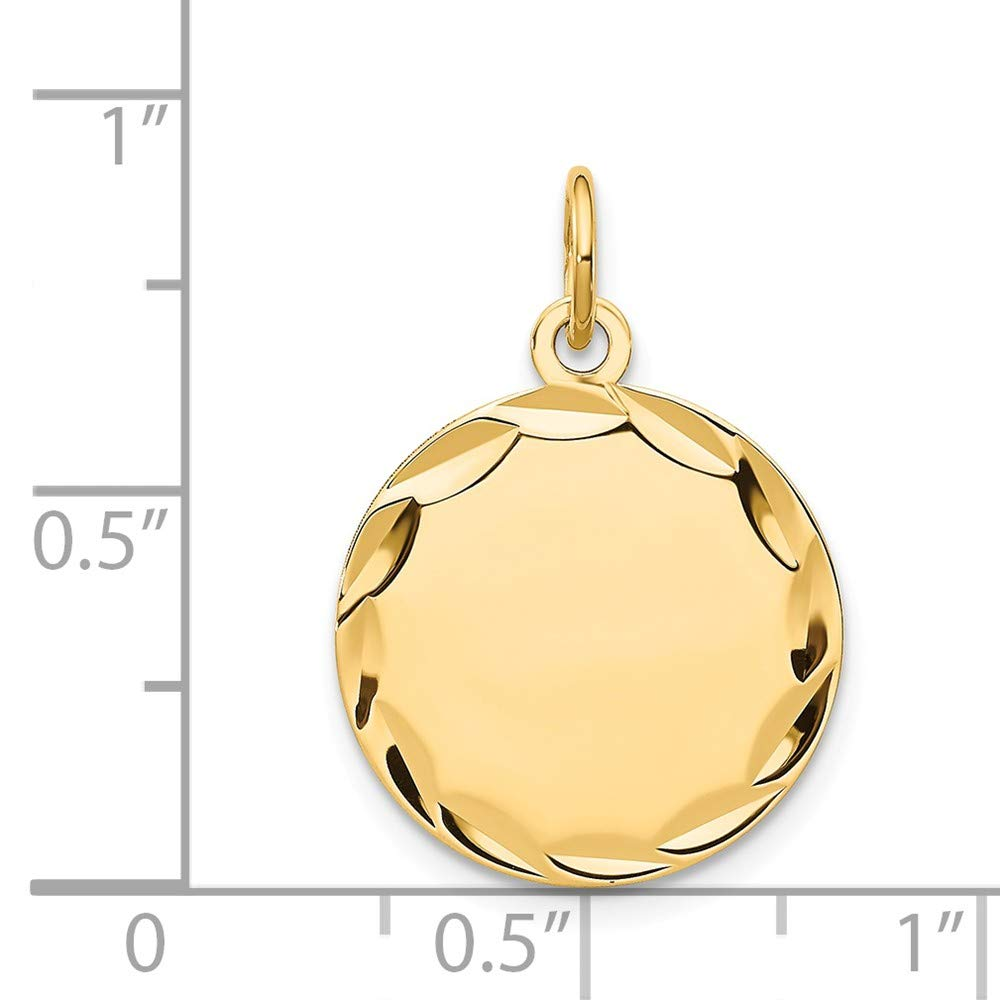 Round Personalized Pendant Engravable Charm Custom Name Plate Disc Etched 14K Yellow Gold