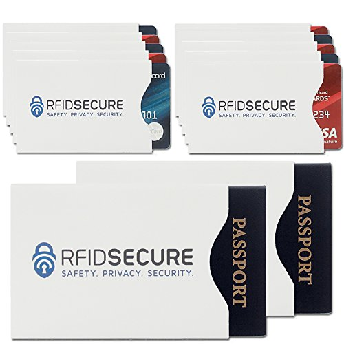 RFID Blocking Sleeves (10 Credit Card & 2 Passport Protectors) Top Identity Theft Protection