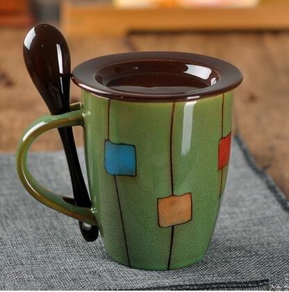 Mecai Novelty mug gift--Mecai DIY hand drawn Coffee Mugs / Ceramic Hot Beverage Drinkware Cups with spoon and lid-Khaki for Wife mom sister girl friend …