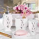 4-Piece-Bathroom-Accessory-Set-Gift-Package-Soap-Dish-and-Dispenser-Toothbrush-Holder-and-Tumbler-Cup-Vanda-Floral-Style-by-Creative-Scents