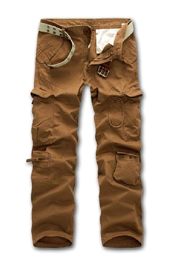 Zimaes-Men Multi-Pocket Washed Military Regular-Fit Cargo Pants Stylish Casual-Pants