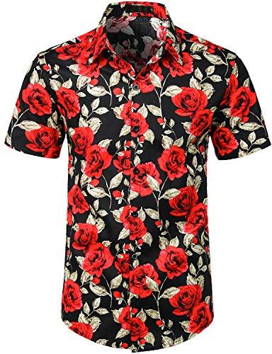 (ZEROYAA Summer Men's Flower Design Casual Button Down Short Sleeve Hawaiian Shirts Black/Rose XXX-Large)