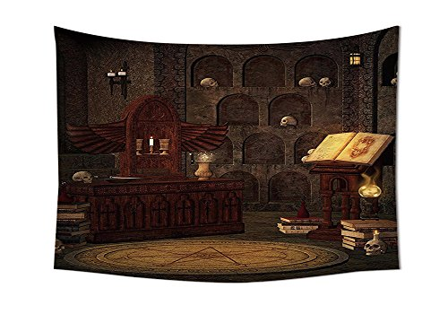Gothic Decor Tapestry Chamber of Secret Rite with Skulls on the Wall Sacred Sorcery Spell Image Wall Hanging for Bedroom Living Room Dorm Brunette Brown