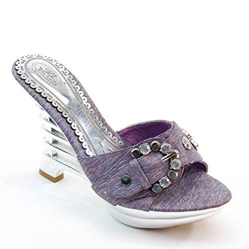 Nouveau Brieten Femmes Cloutées Strass Boucle Wedge Plate-forme Diapositives Sandales Violet
