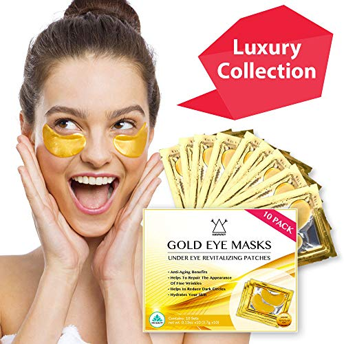 Hawwwy 24k Gold Eye Masks Collagen Under Eye Patches, Under Eye Pads for Puffy Eyes & Dark Circles Best Spa Products for Women Gel Pads Removes Puffiness Undereye Anti Aging Wrinkle Treatment (10pack)