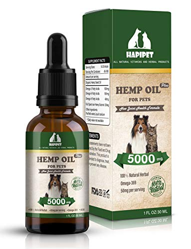 51%2BG08phAtL - HAPIPET Hemp Oil for Dogs Cats Pets,100% Pet Hemp Oil, 5000MG for Hemp Oil Stress Sleep Aid, Supports Hip & Joint Health, Grown & Made in USA-Omega 3, 6 & 9