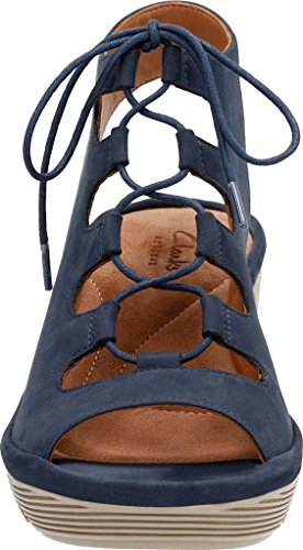 Grace M Clarks 5 Navy Women's Cow US Sandal Wedge Clarene Nubuck qwEf6