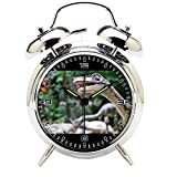 Children's Room Silver Dinosaur Silent Alarm Clock Twin Bell Mute Alarm Clock Quartz Analog Retro Bedside and Desk Clock with Nightlight-220.325_Dinosaur, Zoo, Velociraptor, Animal, Lizard, Bratislava