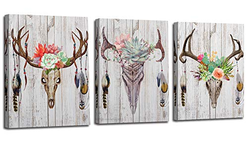 Canvas Antler Wall Art Deer Head Skull Pictures Indian Feather Modern Stylish, Simple Life Succulent Green Plants Painting Colorful Flowers Artwork 3 Panels Wooden Framed for Bedroom Kitchen Din