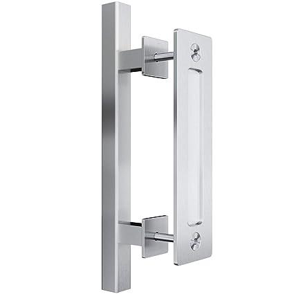 "smartstandard heavy duty 12\"" pull and flush barn door handle set, large rustic two side design, for gates garages sheds furniture, stainless steel,"