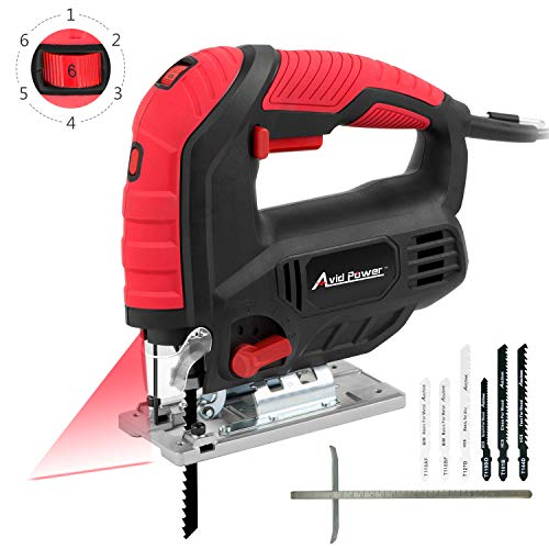- Jigsaw, Avid Power 7.0A 3000 SPM Jig Saw with Laser Guide, Variable Speed, Bevel Angle (0°-45°), 6PCS Blades and Scale Ruler