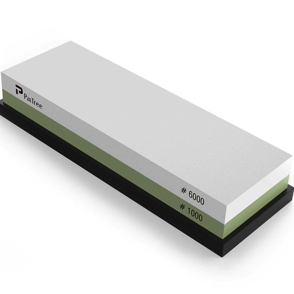 Whetstone, Premium Knife Sharpener Sharpening Stone Water Stone Kit by PaiTree, Safe Honing Holder Silicone Base Included (1000/6000 Grit) by Paitree (Image #2)