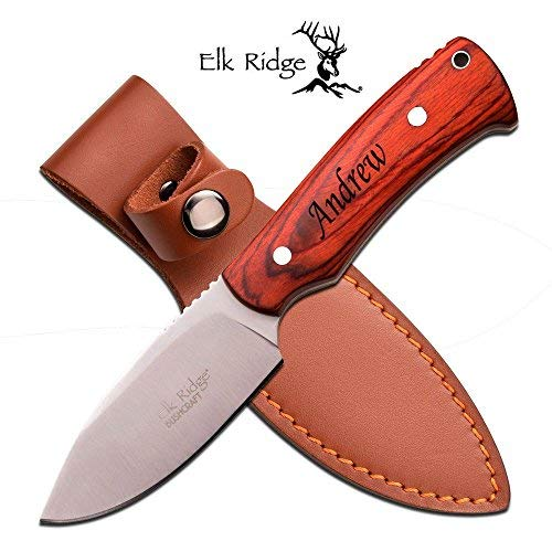 Re Personalized Free Engraving Quality Elk Ridge Knife with Wood Handle (ER-551LW) by Re