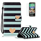 HTC EVO 10 / HTC Bolt 5.5 inch Case, Funyye Vintage Pattern Magnetic PU Leather Wallet Case with Credit Card Holders Slots Protection Case for HTC EVO 10 / HTC Bolt 5.5 inch -Stripes Love Heart