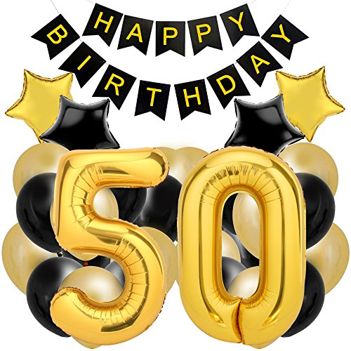 50th Birthday Decorations for The Best 50th Birthday Party - Includes Happy Birthday Banner, Large Number 50 Birthday Latex Balloons + 24 Balloons in Black and Gold. Have a Happy 50th Birthday! ()