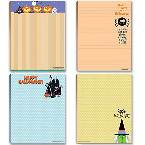 Halloween Notepads - 4 Assorted Funny Halloween Notepads - Monsters, Pumpkins, Witches ()
