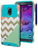 Note 4 Case, Bastex Heavy Duty Durable Hybrid Protective Case - Soft Sky Blue Silicone Cover Hard Tri Split Pink/Chevron/Mint Case for Samsung Galaxy Note 4INCLUDES STYLUS