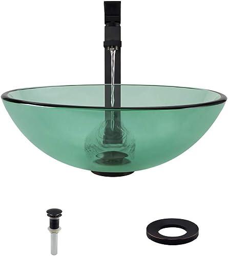 601 Emerald Antique Bronze Bathroom 721 Vessel Faucet Ensemble Bundle – 4 Items Vessel Sink, Vessel Faucet, Pop-Up Drain, and Sink Ring