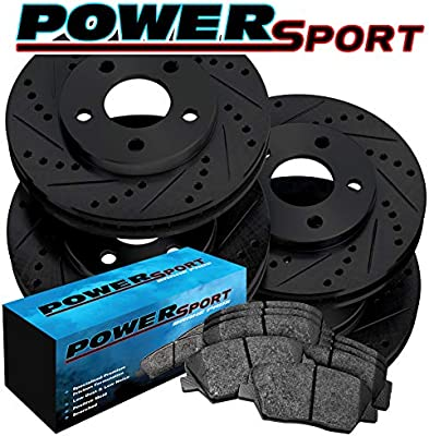 Black Hart *DRILLED /& SLOTTED* Disc Brake Rotors FRONT KIT Ceramic Pads F2835