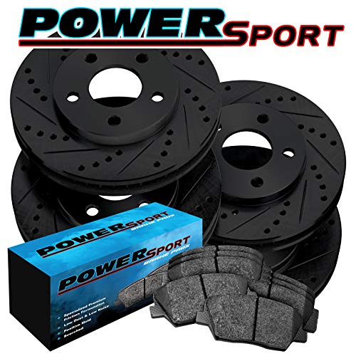 (Fit Subaru Outback, Legacy Front Rear Black Drill Slot Brake Rotors+Ceramic Pads)