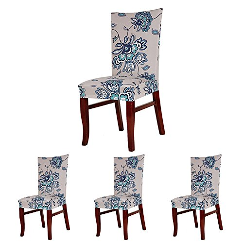 ColorBird Spandex Fabric Chair Slipcovers Removable Universal Stretch Elastic Chair Protector Covers for Dining Room, Hotel, Banquet, Ceremony (Set of 4, Iris Flower)