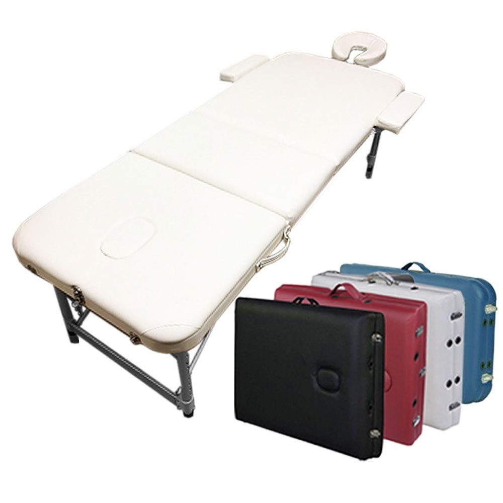 3-Section Aluminum 84L Portable Massage Table Facial SPA Bed Tattoo w/Free Carry Case (Cream White) Angel Canada