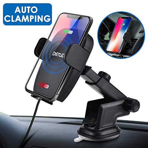 Qi Wireless Car Charger Mount,2019 Upgraded Infrared Auto Clamping Car Cell Phone Charger 7.5W 10W Power Wireless Fast Charger for iPhone XsMax XS XR X 8 7,Samsung S10 S9 S8 Note9,Moto,HTC,LG Black