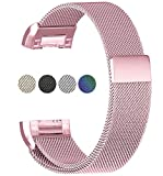 """JIN DI LONG JJ For Fitbit Charge 2 Bands, Stainless Steel Milanese Loop Metal ReplacementWrist band with Magnet Lock for Fitbit Charge 2 (Small 5.5""""-8.5"""", Rose Pink)"""