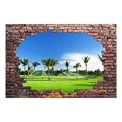 Wall26 - Large Wall Mural - Palm Trees Viewed Through a Broken Brick Wall | 3D Visual Effect Self-Adhesive Vinyl Wallpaper/Removable Modern Decorating Wall Art - 66