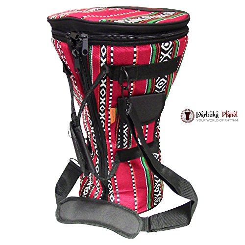 Gawharet El Fan - Professional Red Doumbek/Darbuka Classic & Sombaty Size -Bag Carry Case - Premium Fabric Gig-bag by Gawharet El Fan