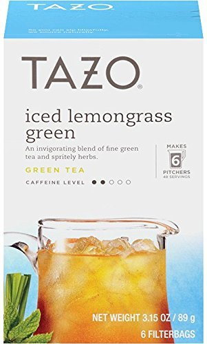 Tazo Iced Lemongrass Green 6 Filter Bags Pack of 2
