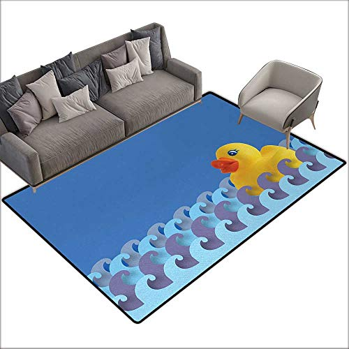 (Bath mat 3D Digital Printing pad Rubber Duck Rubber Duck Floating on Paper Seem Water Waves Bathroom Time Childcare Image W59 xL82 Suitable for Bedroom, Living Room, Games Room, Foyer or Dining Room)