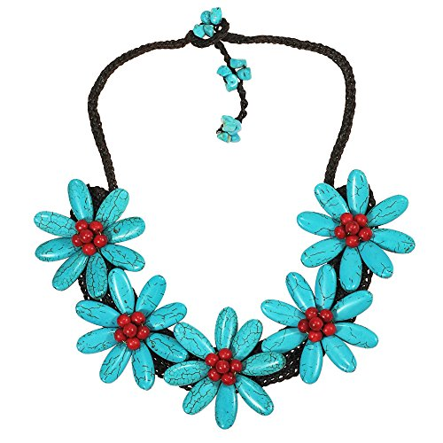 (AeraVida 5 Simulated Turquoise Flowers with Reconstructed Red Coral Center Stone Necklace)