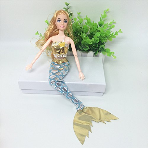 Lanlan Sea Princess Clothes Mermaid Costume Bra & Dress with Magic Stick For 11inches Barbie Doll (Clothes Only) Yellow (Halloween Movies Made In The 80s)