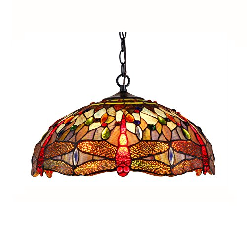 Dragonfly Tiffany Style Pendant Light Fixture in US - 5
