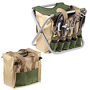 ISWEES 7 Piece Garden Tools Set - 5 Ergonomic Gardening Steel Tools,Includes Cultivator,Trowel,Weeder,Weeding fork,Transplanter,Folding Stool And Detachable Tool Bag