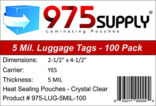 "975 Supply - Luggage Tag Laminating Pouches - 2-1/2"" for sale  Delivered anywhere in USA"
