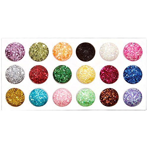 BMC Sparkly 18pc Miniature Hexagon Mixed Colorful Metallic Iridescent Glitter Nail Polish Art Accessory Set