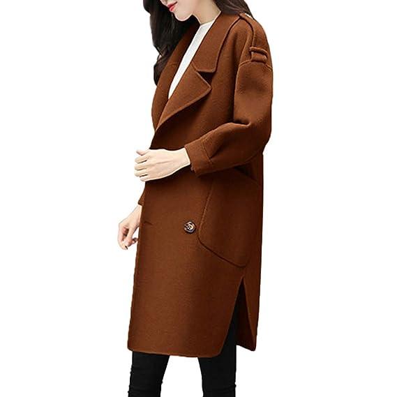 LILICAT❋ Abrigo de Lana Largo Mediano, Chaqueta de Invierno de otoño para Mujer Casual Outwear Parka Cardigan Slim Coat Overcoat (Verde ...
