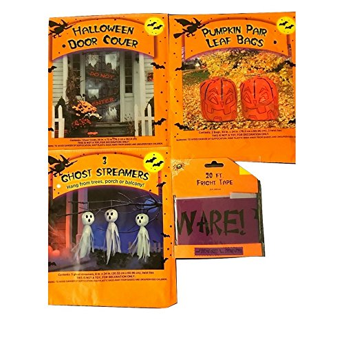 Decorate Your Door and Lawn with Scary Ghosts, Goblings Halloween Pumpkins, Lawn Bags, DO NOT ENTER Door Cover and BEWARE Tape Bundle (Halloween Door Cover Ideas)