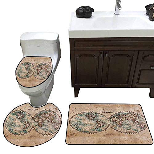 3 Piece Extended Bath mat Set Earth Tones Decor Collection Old World Map from 1800s for Geography and History Print 3 Piece Toilet Cover Set Burlywood Tan Blue -