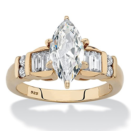 14K Yellow Gold over Sterling Silver Marquise Cut Cubic Zirconia Engagement Ring Size 7