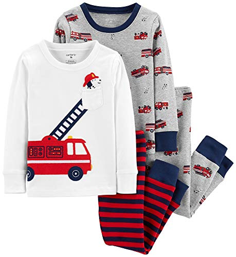 Carter's Boy's 4-Piece Snug Fit Cotton PJ Set, Firetruck, 3T (Embroidered Print Pajama Set)