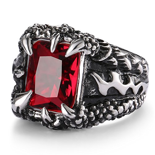 UOKOHO Men's Stainless Steel Ring Band Gothic Dragon Claw Design with Created Ruby Size 9 (Mens Ruby)