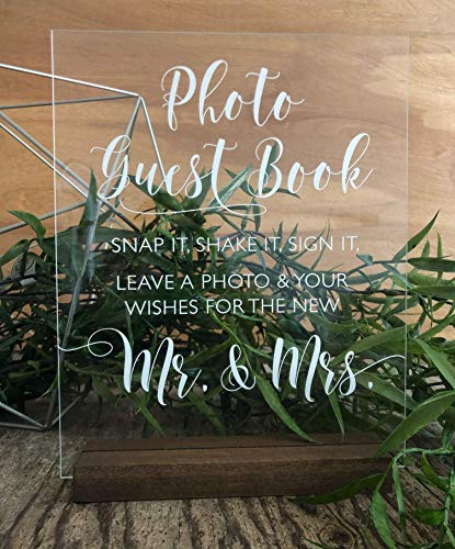 Wedding Photo Booth Sign: Wedding Guest Book Sign-in - Clear Acrylic Sign w/Weathered Oak Stain Wood Stand - Snap it, Shake it, Sign it - Handmade & Hand-Painted Sign Our Guestbook Message Sign