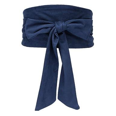 Vestido de señoras Vaqueros Slim Fit Cinturón Corbatas de lazo de ...