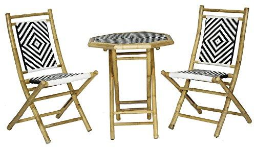 Heather Ann Creations Hana Collection Outdoor 3 Piece Bamboo Rattan Folding Bistro Set, Black/White -